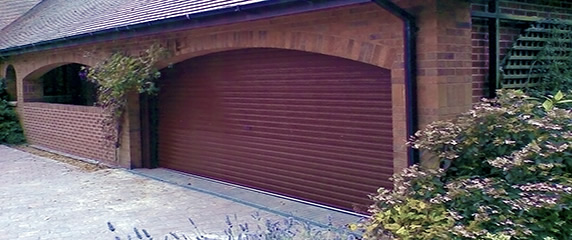 double size roller door in burgundy
