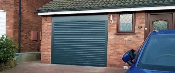 single size roller door in anthracite grey