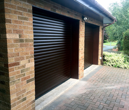 twin roller garage doors in mocca brown