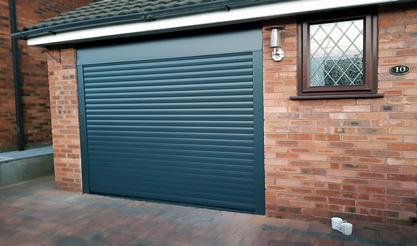 close-up of roller garage door in anthracite grey colour
