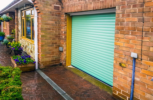 chartwell green roller garage door side view