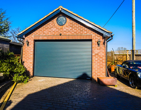 double size roller garage door in anthracite grey