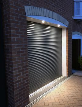 roller garage door with down lights in grey