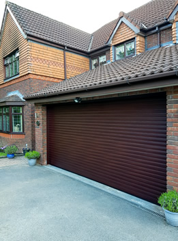 double roller garage door with brown powdercoat