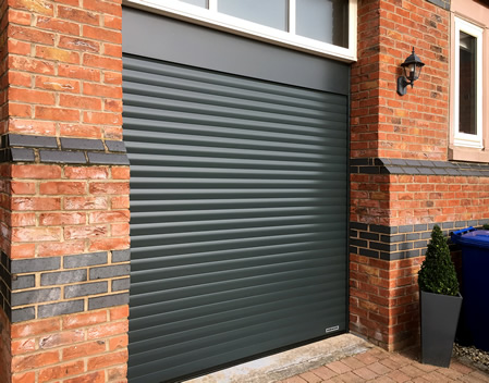 hormann anthracite grey garage door with tall opening