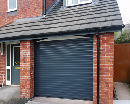 roller garage door in complimentary grey finish