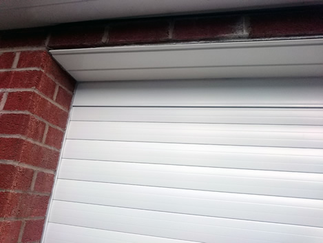 top corner close-up garage door in white